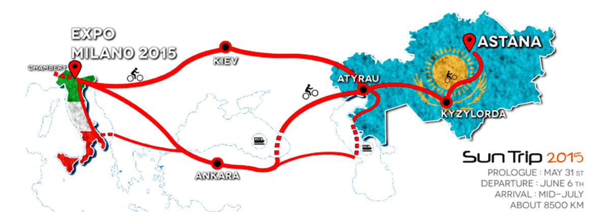 La mappa col percorso del Sun Trip 2015 con partenza da Milano