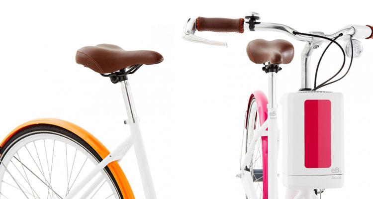 La foto con i dettagli del sellino e del manubrio della bici elettrica eB1