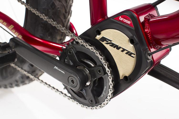 Una foto del motore Brose montato sulla bicicletta elettrica Seven Days della Fantic Motor