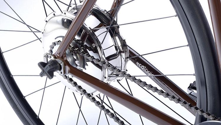 Una foto ravvicinata del motore Bike+ della Zehus della Mopbike