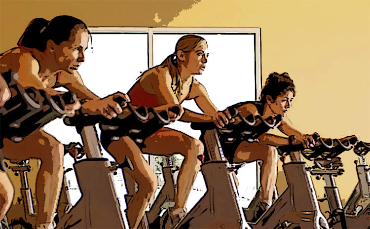 Lezione di spinning in palestra