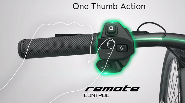 Il controllo remoto RC1 montato sulla bici elettrica Uproc7 Flyer