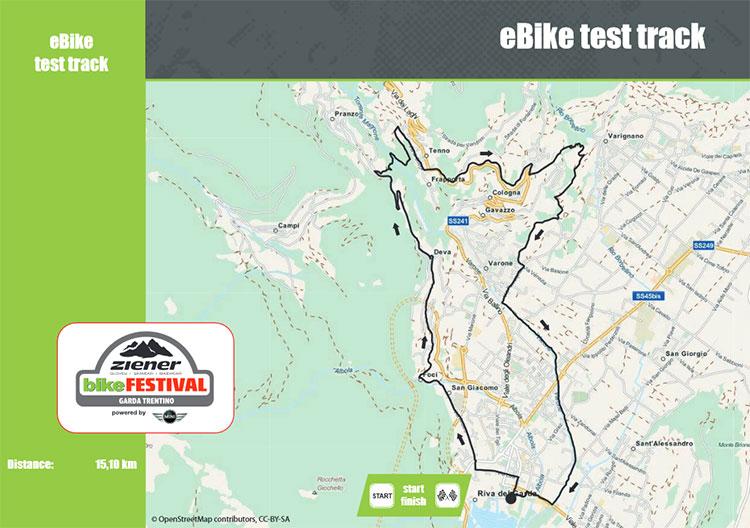 La mappa col percorso del Bosch eBike Test Track al Bike Test 2016