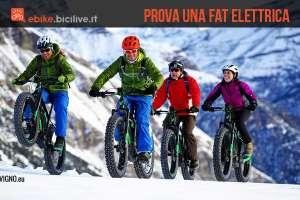 foto di quattro rider su fat bike elettriche