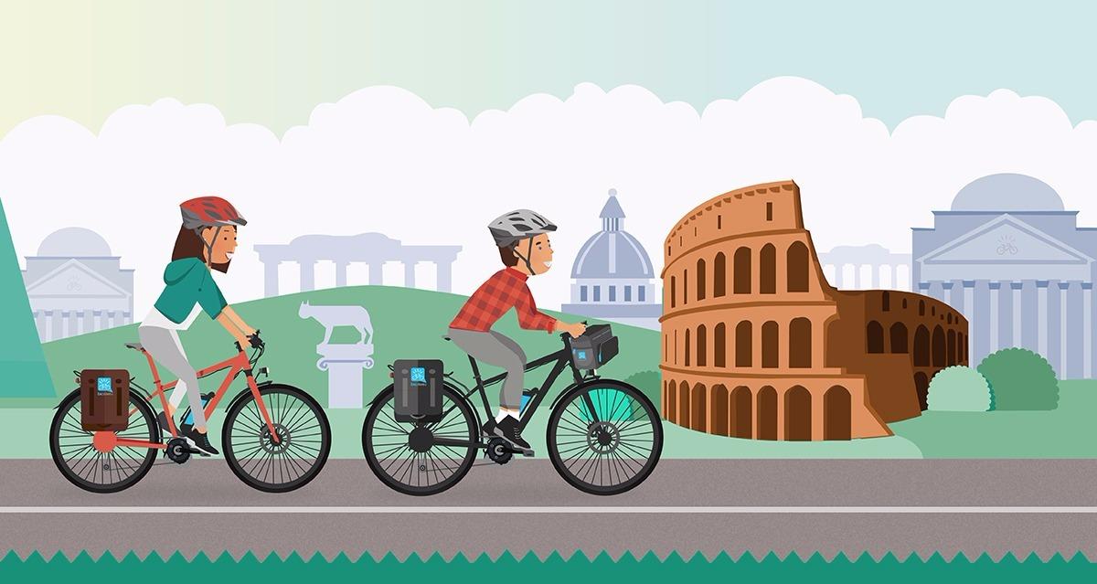 cicloturisti visitano roma in bicicletta a pedalata assistita