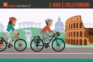 due ciclisti sono impegnati in un viaggio a roma in sella ad una ebike