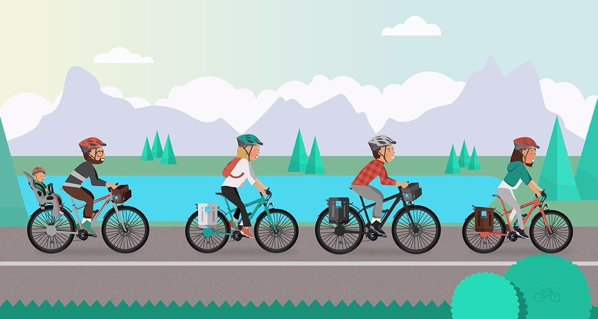 ciclisti pedalano durante un viaggio con una ebike o una e-mtb