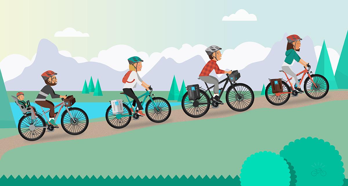 4 ciclisti impegnati in una pista ciclabile in montagna con una bicicletta elettrica