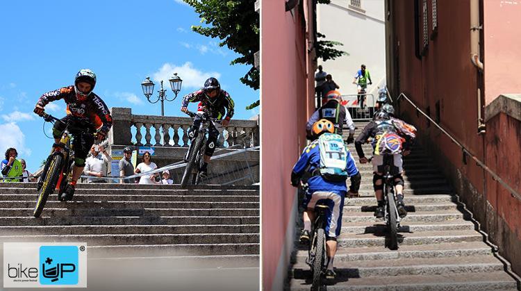 La gara di bici elettriche, ebike e mountain bike elettriche, emtb UpHill che viene disputata a Lecco durante il BikeUp
