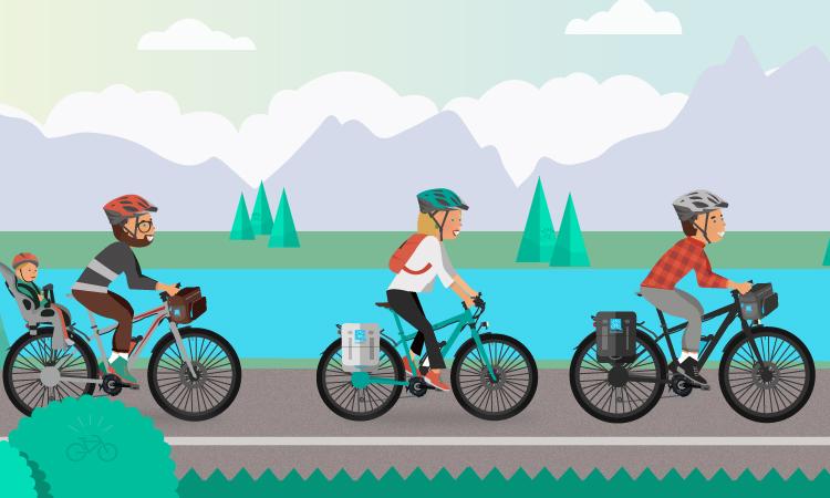Biker percorrono un itinerario in montagna adatto alla biciclette a pedalata assistita