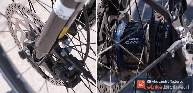 I freni e il cambio Shimano STEPS montati sulla bicicletta a pedalata assistita Brinke Rushmore 16