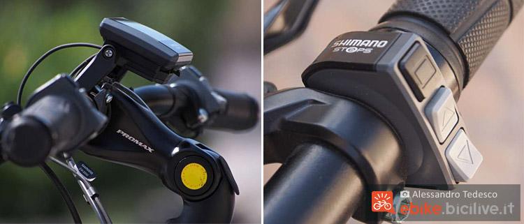 Il manubrio con il ponte comandi e la pulsantiera Shimano Steps della ebike Brinke Rushmore 16