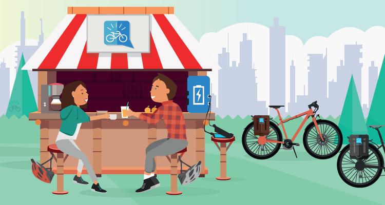 Una pausa durante un giro con una e-bike per reintegrare le energie spese con la giusta alimentazione
