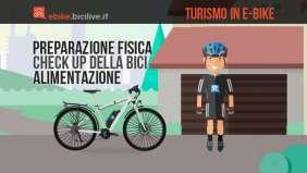 Guida al cicloturismo su bici elettrica toccando i temi dell'alimentazione, la preparazione fisica e lo stato della bici