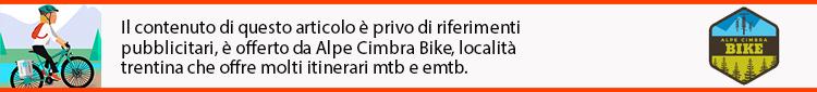 noleggio emtb mtb in montagna, banner native che spiega che questo articolo ha un contenuto privo di riferimenti pubblicitari ma è offerto da Alpe Cimbra Bike