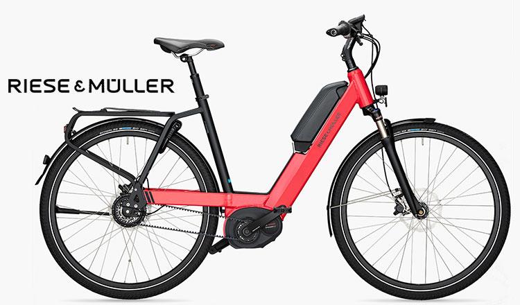 Una bicicletta elettrica a pedalata assistita Riese&Müller Nevo Nuvinci rossa.
