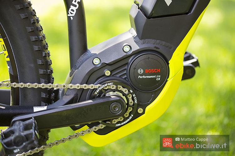 Il motore Bosch Performance Line CX montato sulla ebike Haibike Xduro Hardseven+ RX