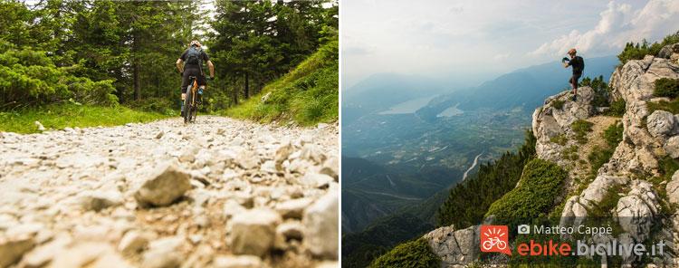 un ciclista percorre la strada ciottolata  verso Pizzo di Levico da cui si gode di un ottimo panorama