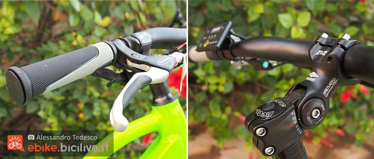Manopole e manubrio della bici elettrica BadBike Evo Fat