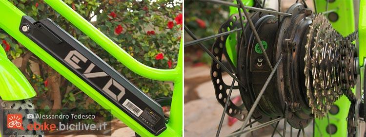 La batteria e il motore Bafang montati sulla bici elettrica BadBike Evo