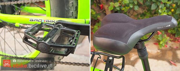 Sella e pedali della bicicletta elettrica BadBike Evo 250 Fat