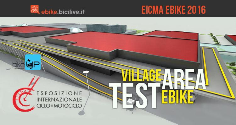 Immagine che mostra il village area test di bici elettriche ad Eicma Ebike 2016
