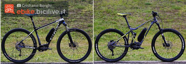 foto delle due emtb utilizzate per il test del motore shimano e8000