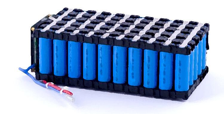 Un blocco di batterie al litio ricaricabili per biciclette elettriche