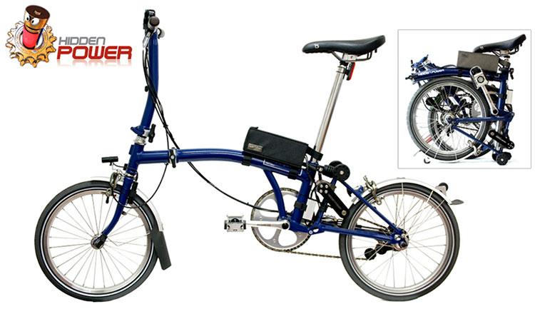 Una bici pieghevole Brompton con il kit ebike HiddenPower