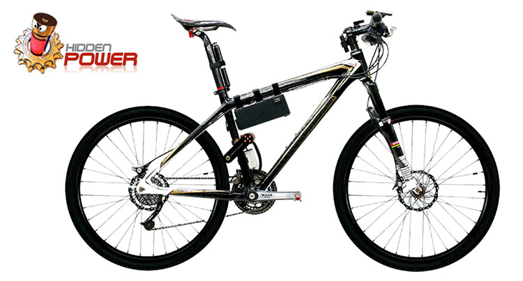 Il kit ebike HiddenPower montato su una normale MTB
