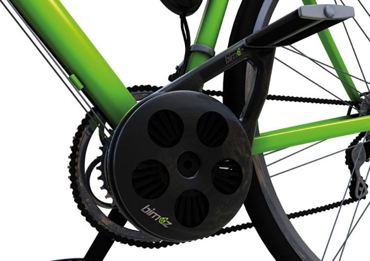 Il kit Bimoz montato centralmente su una bicicletta