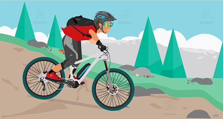 immagine di un biker con una e-mtb durante la guida in discesa