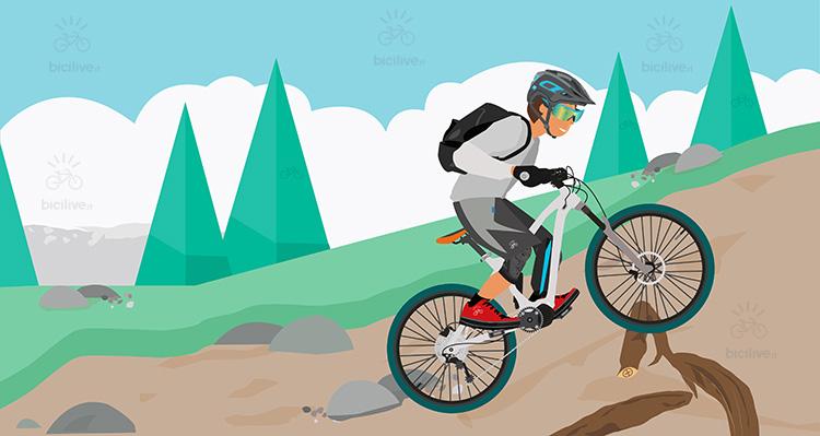 illustrazione di un biker che usa la sua emtb in salita