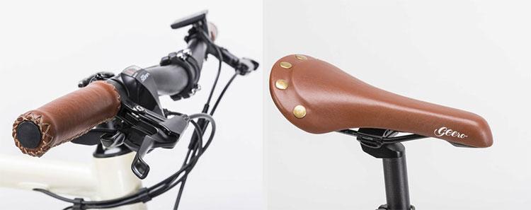 La sella e le manpole della bicicletta Geero sono in pelle