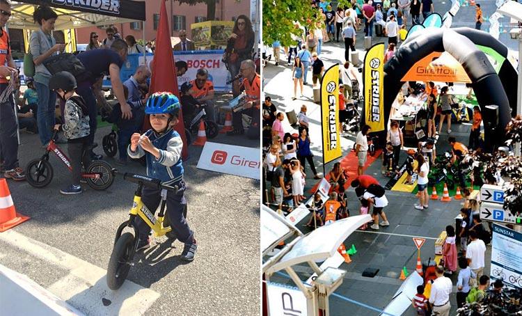 bambini impegnati nell'area kid di bike up