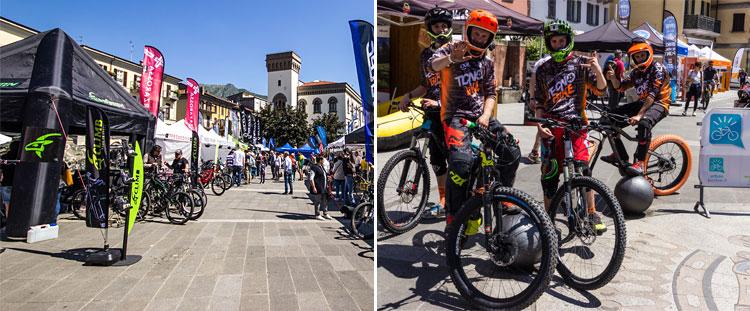 stand nel centro storico di lecco e ciclisti durante bikeup