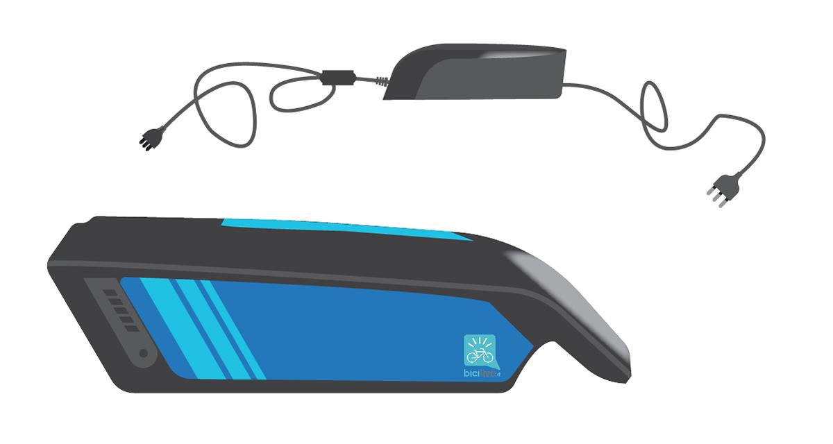 illustrazione di una batteria per ebike con il suo caricatore