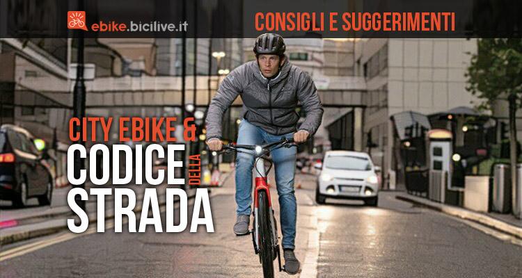 foto di un ciclista su una ebike urban con luci accese