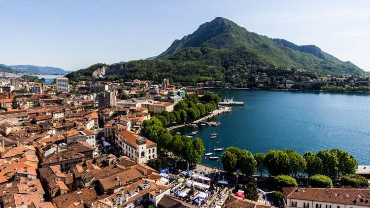 Panorama di Lecco dove vengon organizzati i tour in ebike
