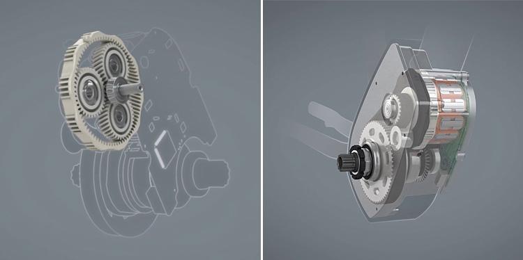 interno e ingranaggi del motore elettrico per ebike Brose
