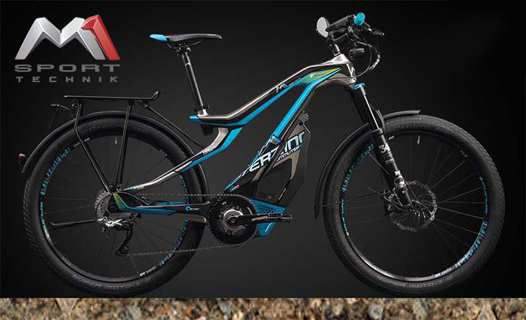 Una bici a pedalata assistita Das Sterzing GT Pedelec 2017 nella colorazione blue-grigio