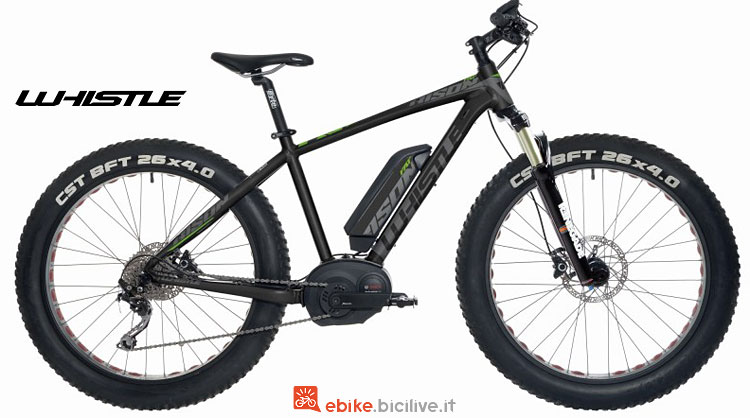 mountain bike elettrica con ruote fat whistle bison 2018