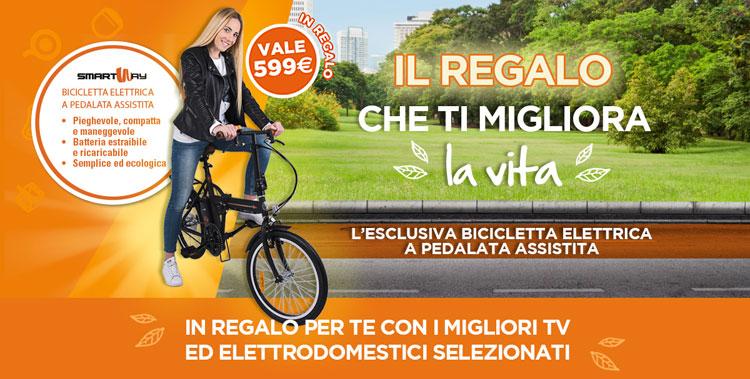 pubblicità della promozione Expert che regala una bicicletta elettrica