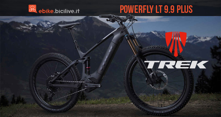 Una mountain bike elettrica biammortizzata Trek Powerfly LT 9.9 Plus 2019