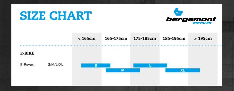 La tabella delle taglie della ebike BergamontE-Revox Ultra