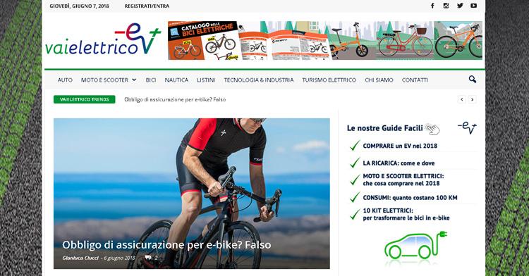 Uno screenshot della home page del sito vaielettrico.it