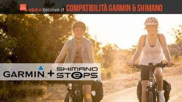 ciclista in ebike con sistema Garmin e Shimano