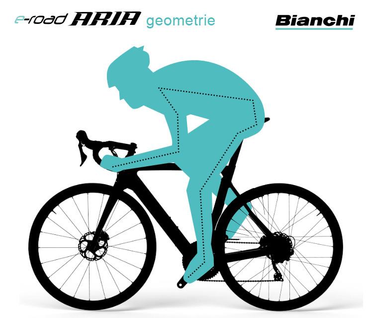 Posizione in sella racing per la ebike Bianchi Aria e-Road 2019