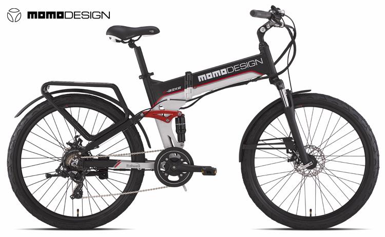 Una mtb elettrica biammortizzata pieghevole MOMODESIGN E-Bike