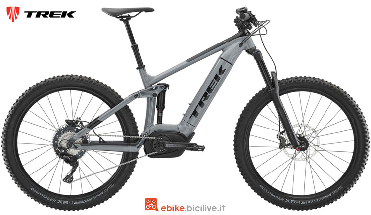 Una mtb a pedalata assistita biammortizzata Trek Powerfly LT 7 Plus